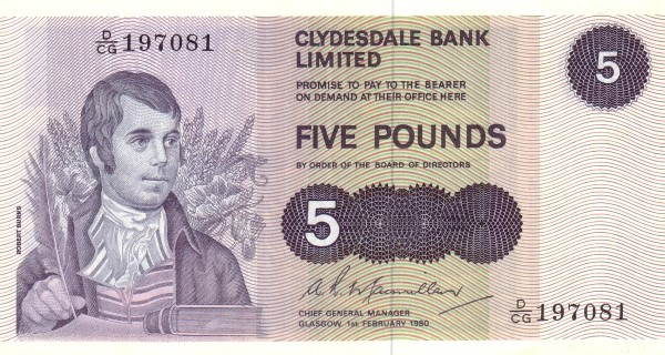 Clydesdale Bank Five Pounds bank note Robert Burns