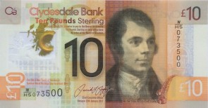 Clydesdale Bank Ten Pound bank note since 2017