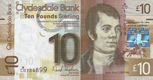 Clydesdale Bank Ten Pounds bank note 2008-2017