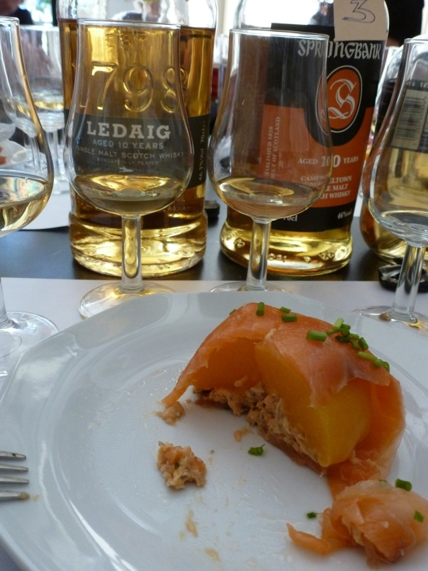 Whisky, peach & salmon