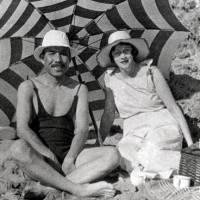 Rita Cowan and her 'massan' on the beach