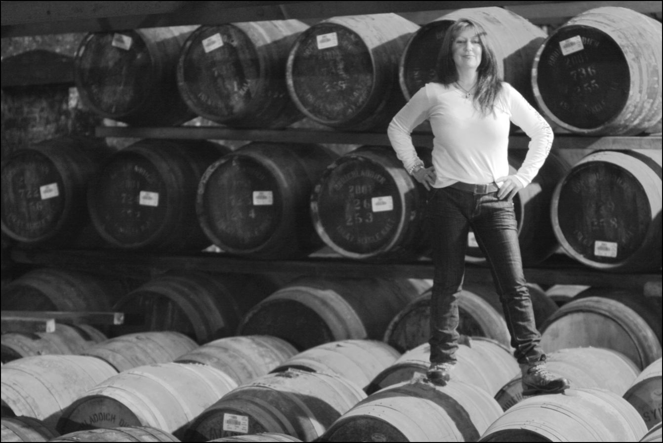 Rachel on casks Black & White
